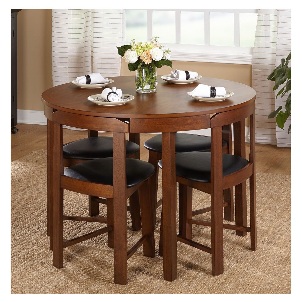 Small Dining Table For 4: طاولة سفرة مستديرة للمساحات الضيقة + 4 كراسى